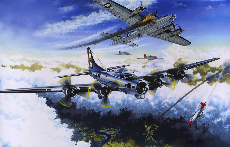 Wallpaper War Art Painting Aviation Ww2 Boeing B 17 Flying