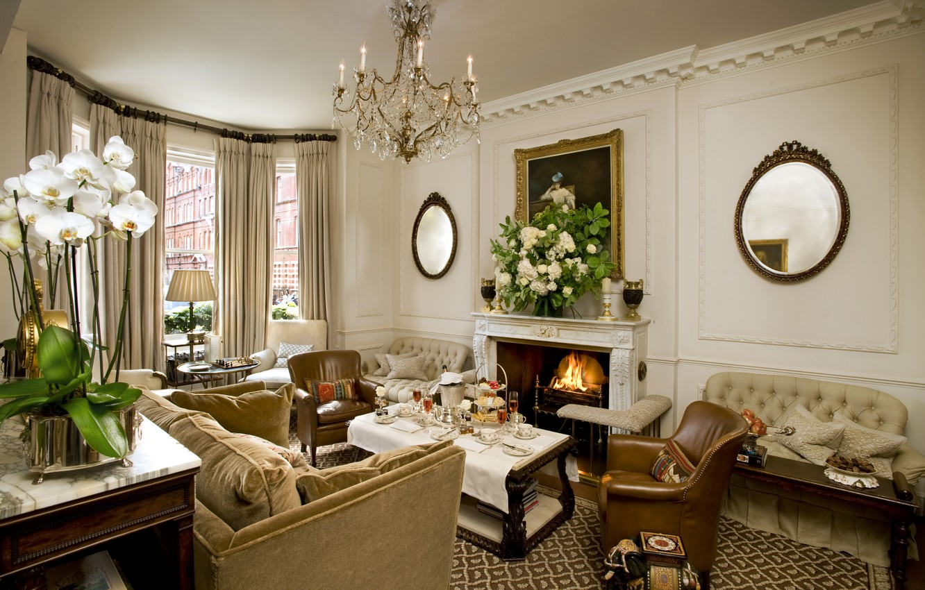 Photo wallpaper design, style, room, sofa, interior, chairs, chandelier, pictures, fireplace, mirror, living room, tables