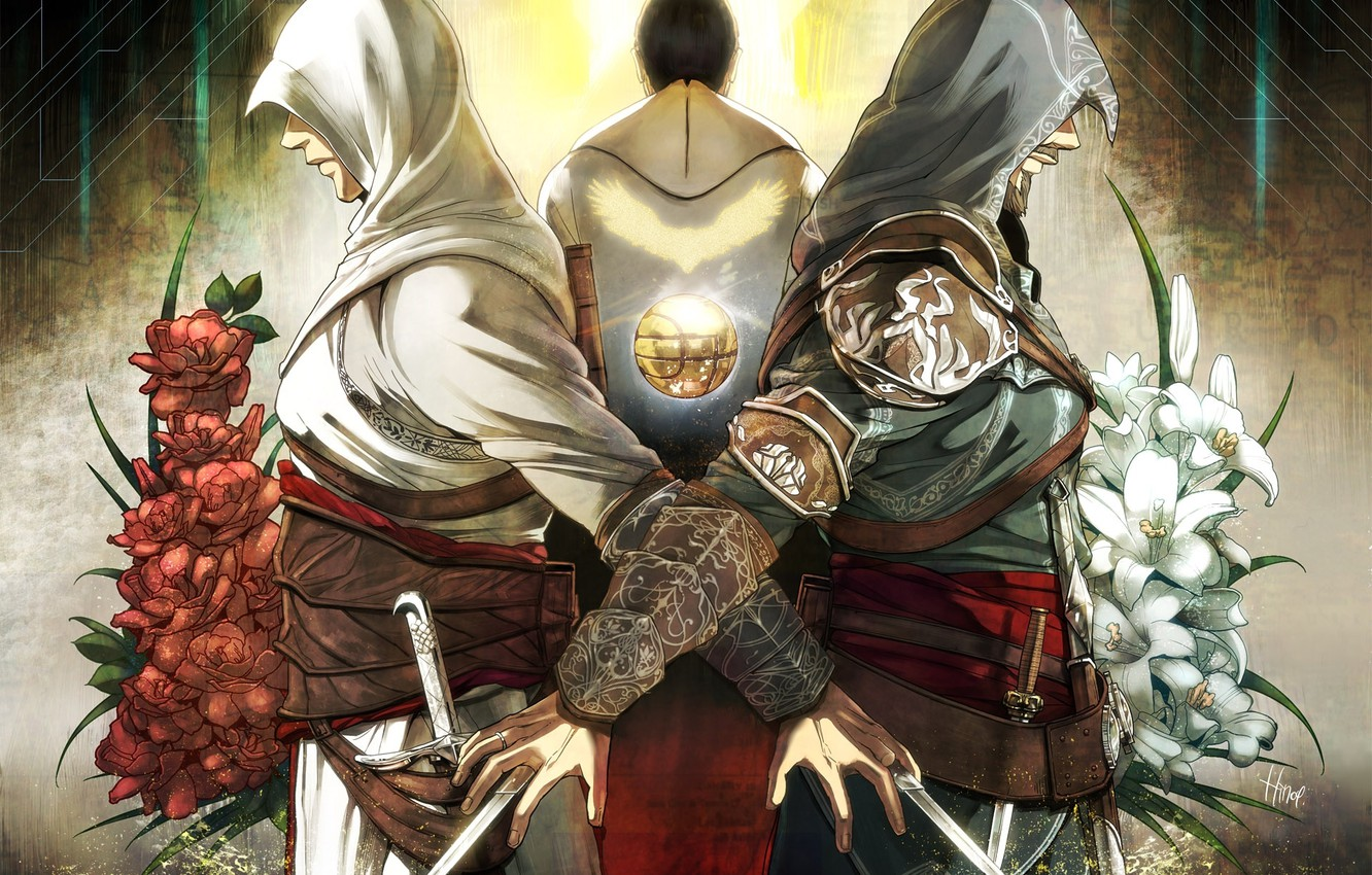 Wallpaper Flowers Swords Assassin S Creed Assassin Ezio