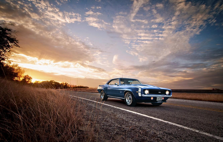 Photo wallpaper road, 1969, Camaro, Classic, chevrolet, blue, American, Muscle heaven