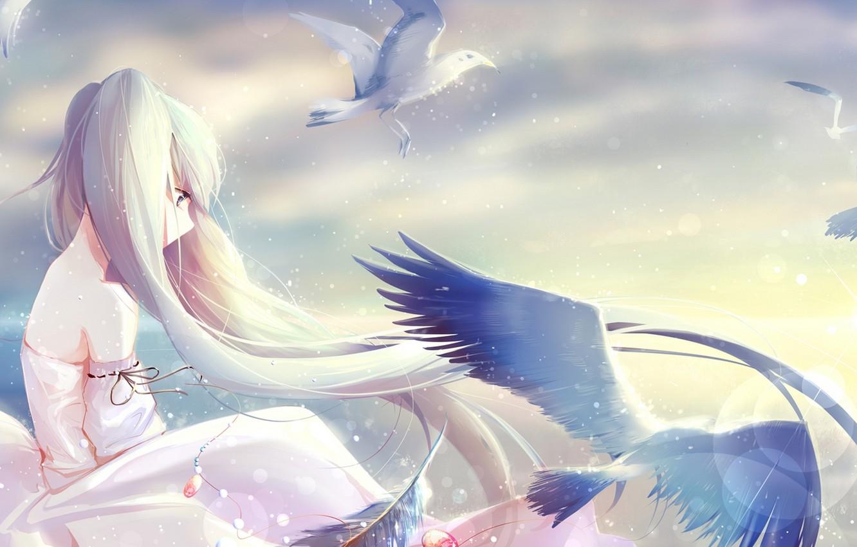 Photo wallpaper the sky, girl, clouds, light, birds, art, pendant, vocaloid, hatsune miku, Vocaloid, Holmes Â