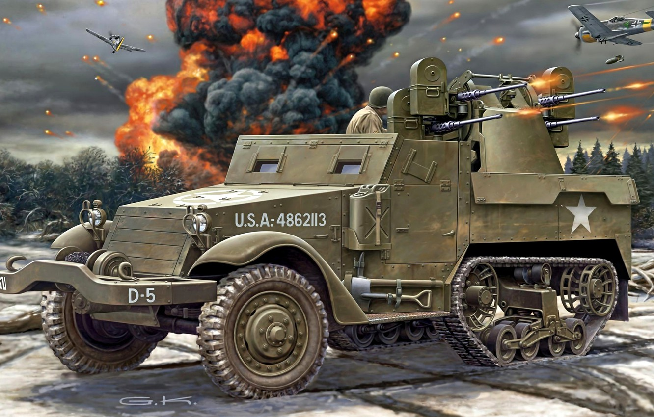 Photo wallpaper figure, art, shooting, bombs, American, aircraft, M16, APC, WW2, Carrier, Staff, breaks, half-track, Half-Track, Quad …