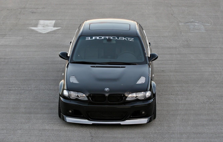 Photo wallpaper asphalt, Bmw, black car, black color