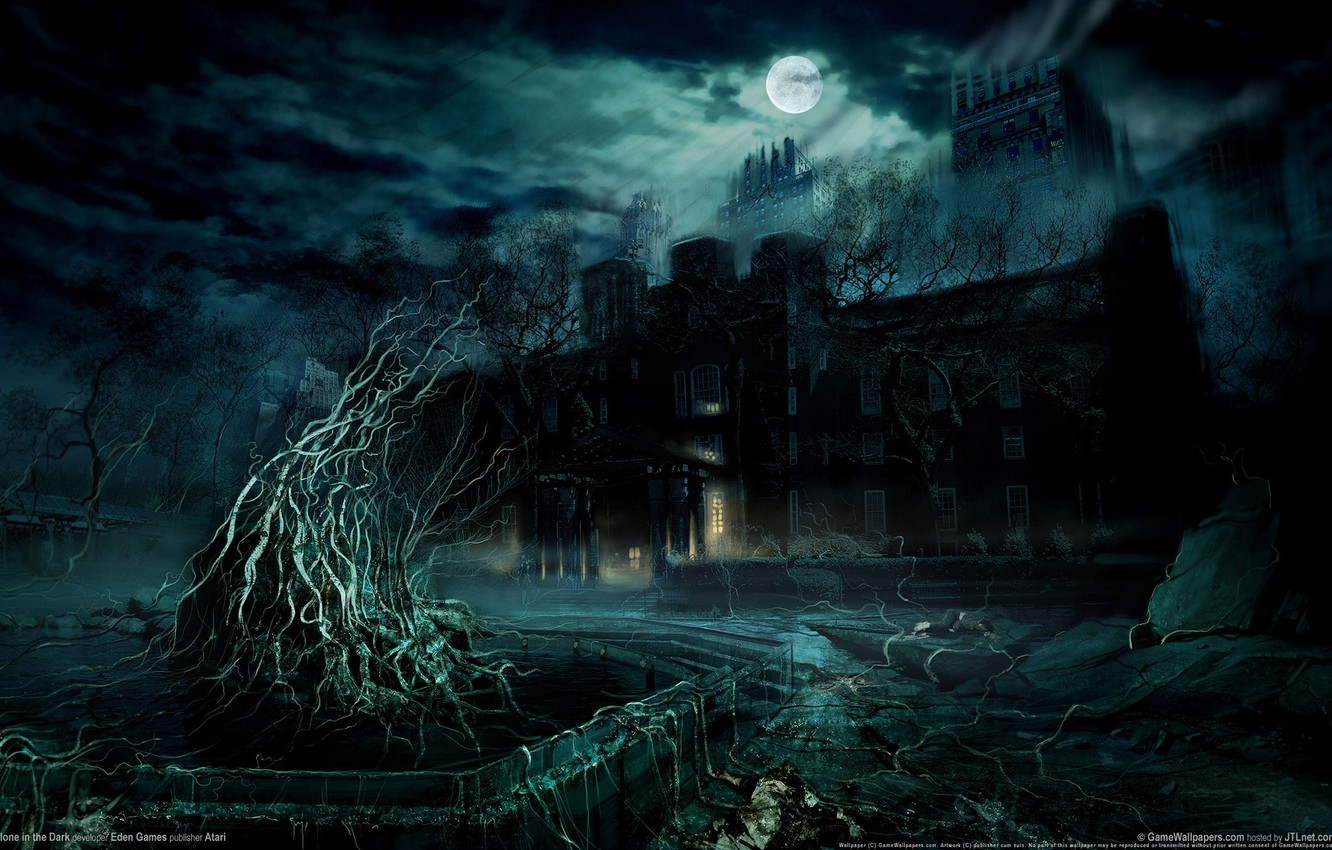 Photo wallpaper night, mystic, abandoned house, the full moon, alone in the dark