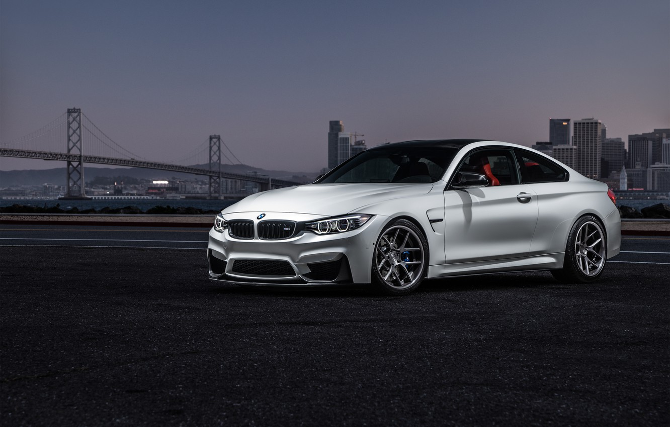 Photo wallpaper BMW, City, Car, Sky, Sunset, White, View, Collection, Aristo, F82