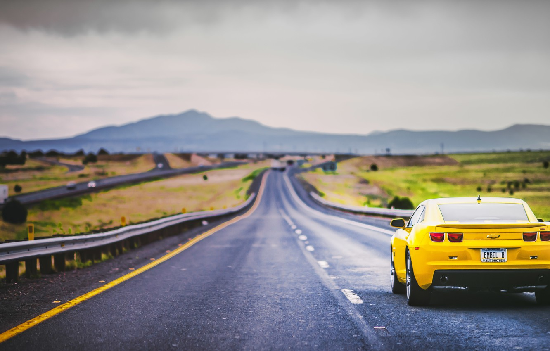 Photo wallpaper road, mountains, back, Camaro, gray clouds
