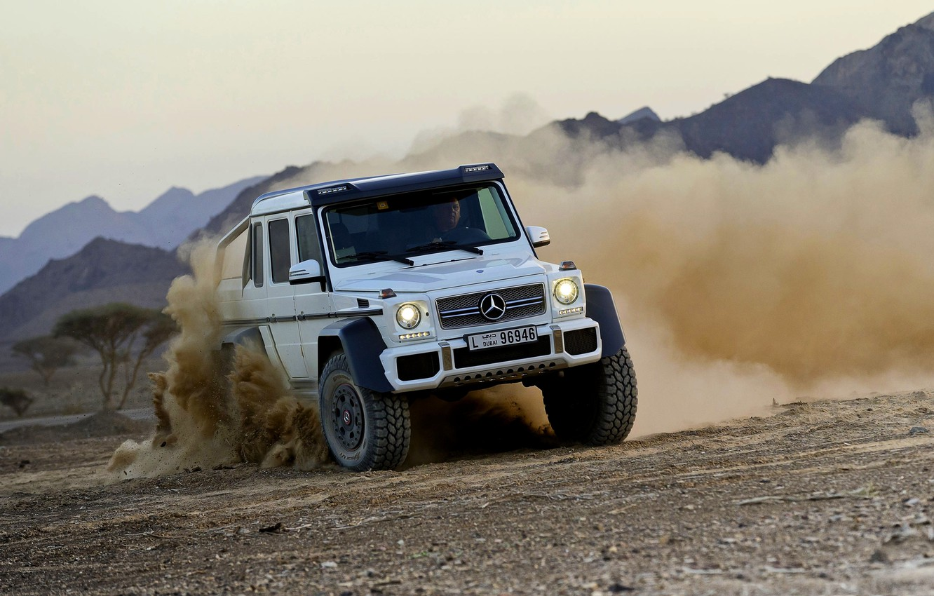 Photo wallpaper Mercedes-Benz, Dust, White, Skid, Jeep, AMG, G63, The front, 6x6