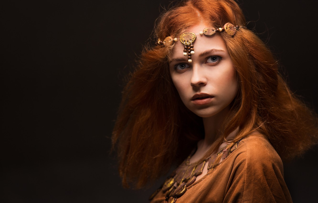 Photo wallpaper look, decoration, style, girl, redhead, the middle ages, style, bokeh, wallpaper., beautiful background, beautiful girl …