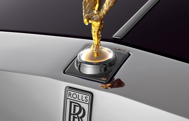 Photo wallpaper macro, Rolls-Royce, emblem, rolls Royce