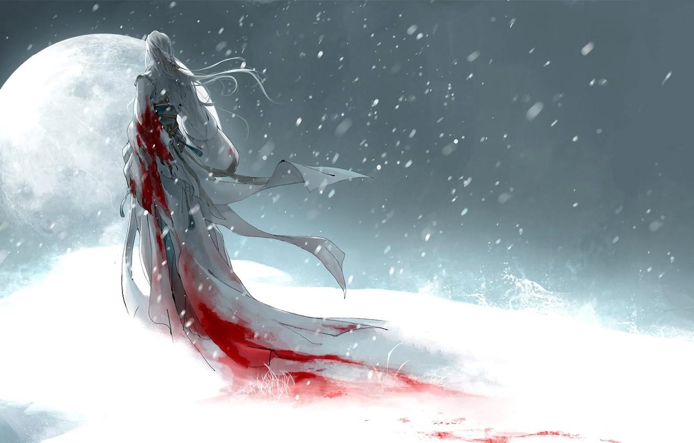 Photo wallpaper girl, snow, the moon, blood, art, heise
