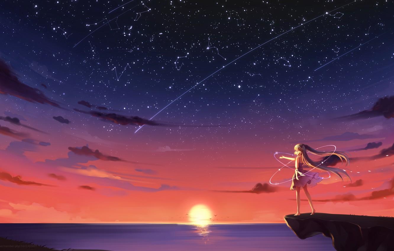 Photo wallpaper the sky, girl, the sun, stars, clouds, sunset, seagulls, anime, art, vocaloid, hatsune miku, kyuri