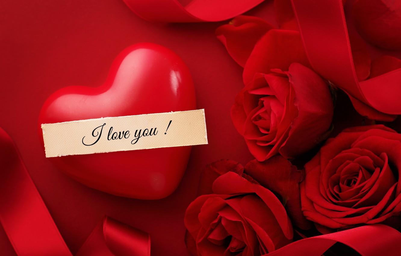 Photo wallpaper love, heart, roses, red, love, heart, romantic, silk, Valentine's Day, roses