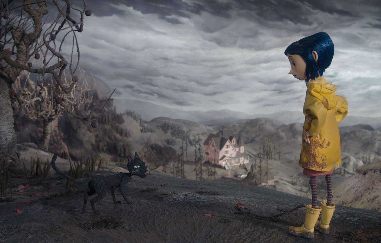 Photo wallpaper cat, clouds, meeting, cartoon, dirt, girl, scary story, Coraline, Coraline, Coralyn, gloomy sky