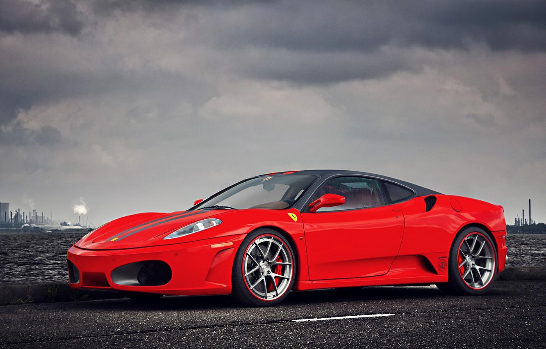 Photo wallpaper F430, Ferrari, Red, Clouds, Sky, Landscape, Water, Supercar, Factory