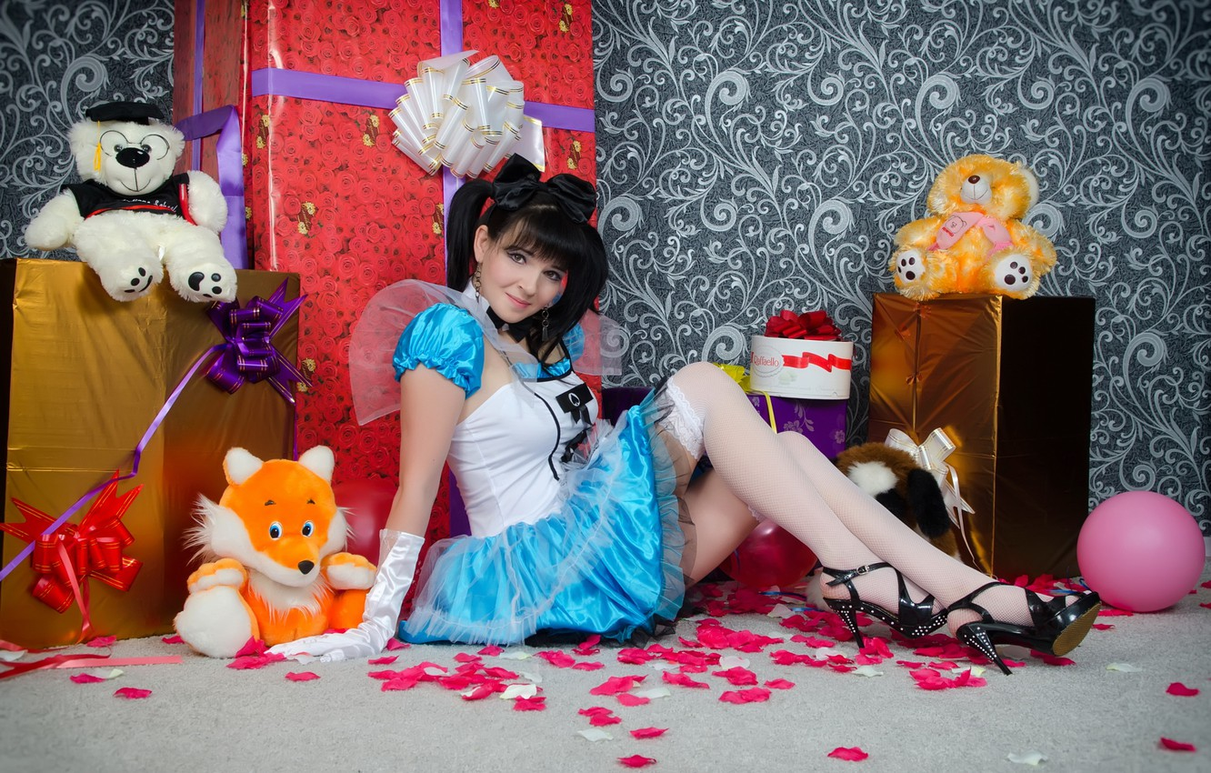 Photo wallpaper smile, toys, stockings, doll, dress, brunette, hairstyle, gifts