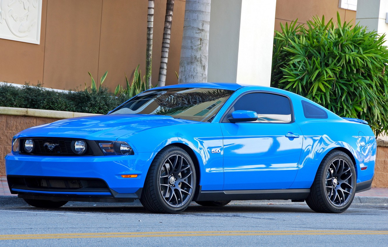 Photo wallpaper Ford, mustang, blue