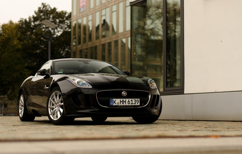 Photo wallpaper black, jaguar, coupe, street, f-type