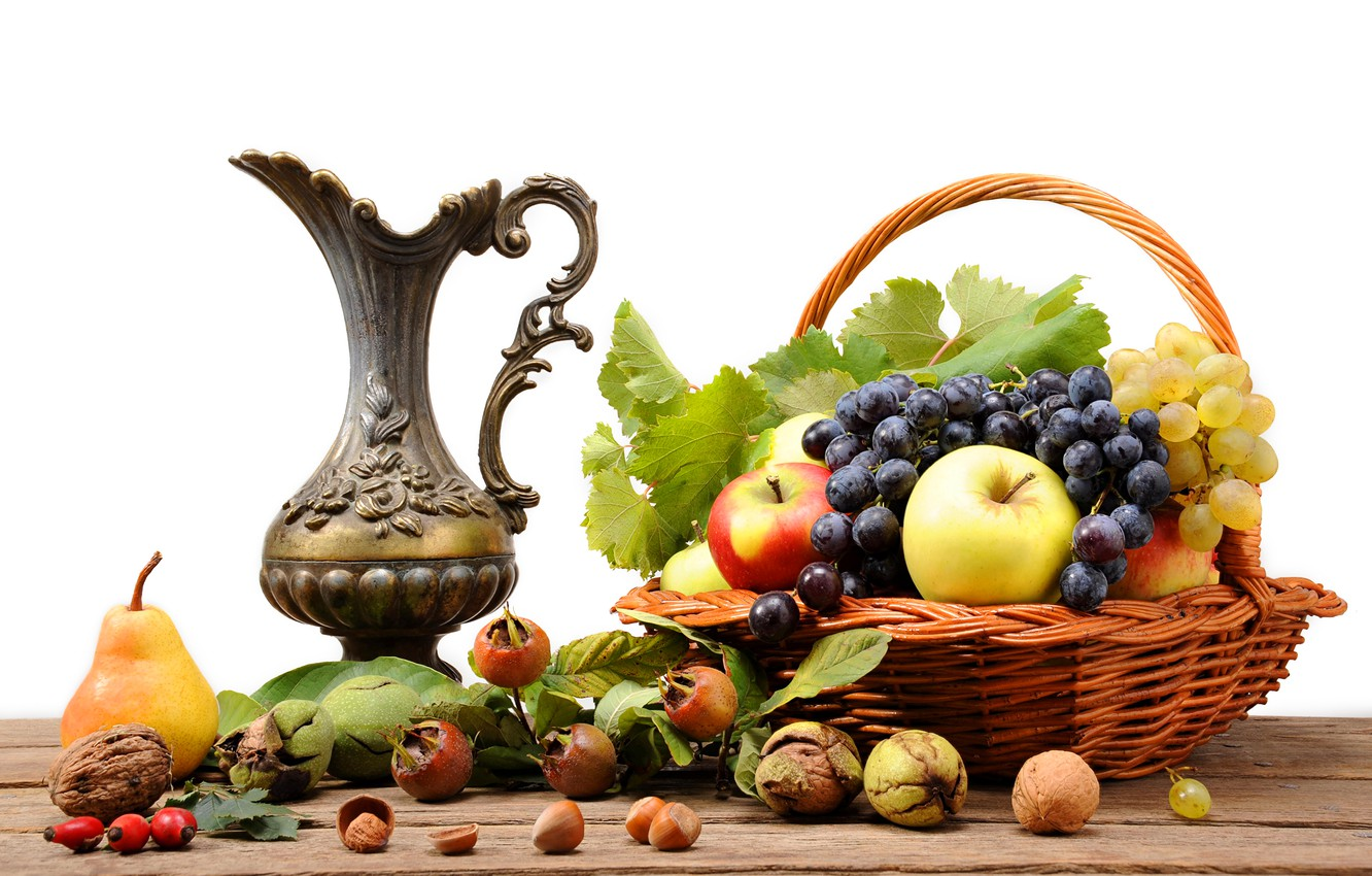 Photo wallpaper table, basket, apples, briar, grapes, pear, pitcher, fruit, nuts, still life