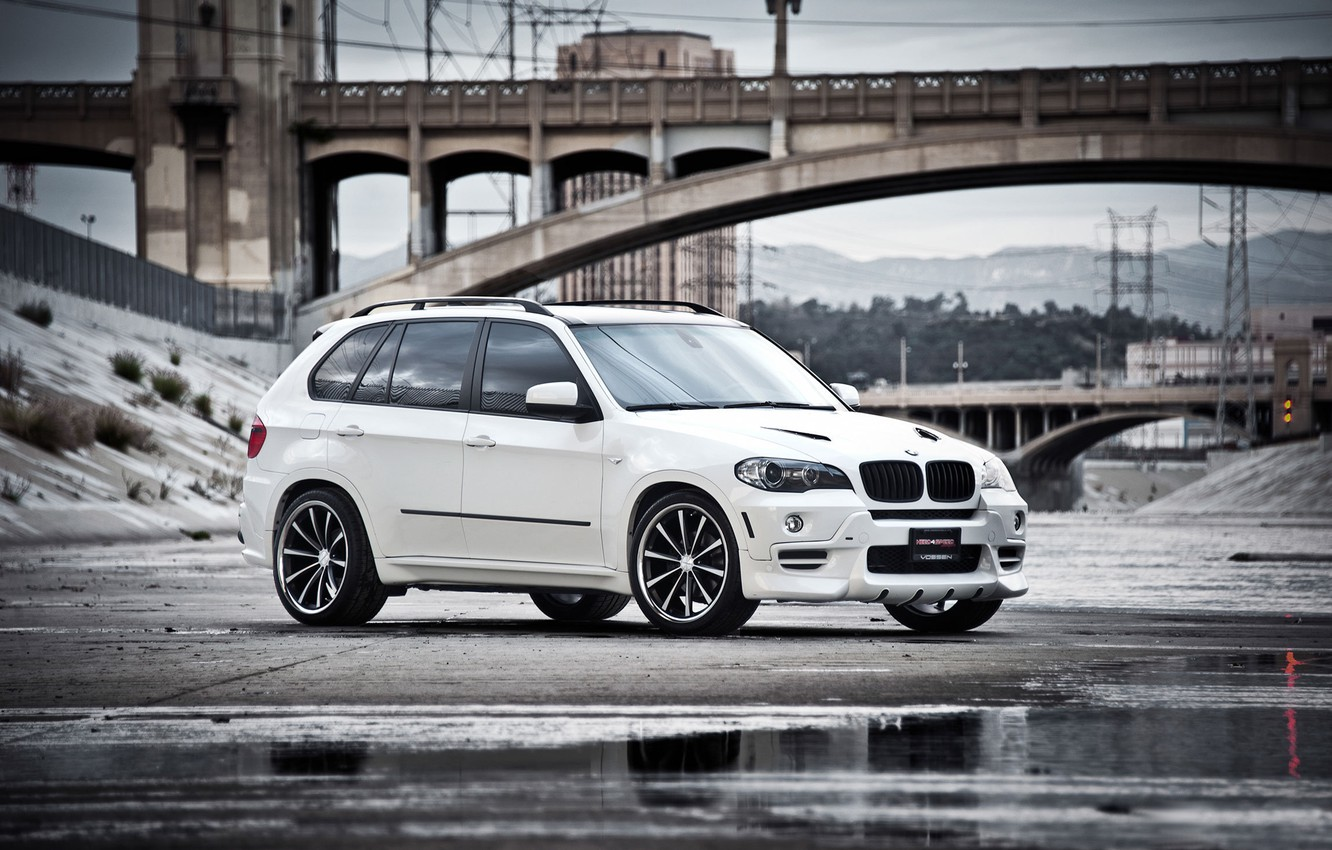 Photo wallpaper white, bridge, reflection, BMW, BMW, puddle, white, the front part, crossover