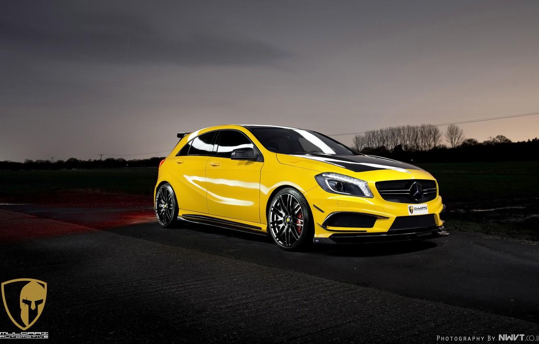 Photo wallpaper yellow, lights, tuning, Mercedes-Benz, drives, front, AMG, yellow, beautiful, sports, A45, RevoZport, Mulgari