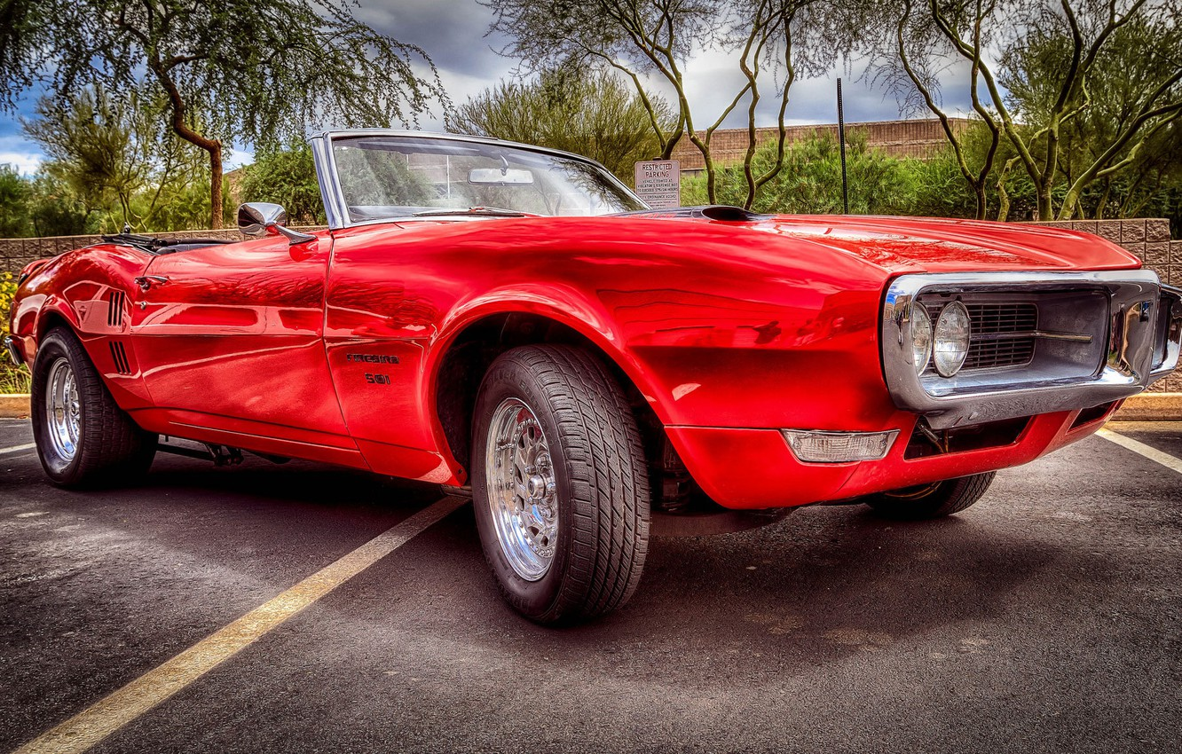 Photo wallpaper HDR, Pontiac, muscle car, Pontiac, the front, Firebird, Herbed