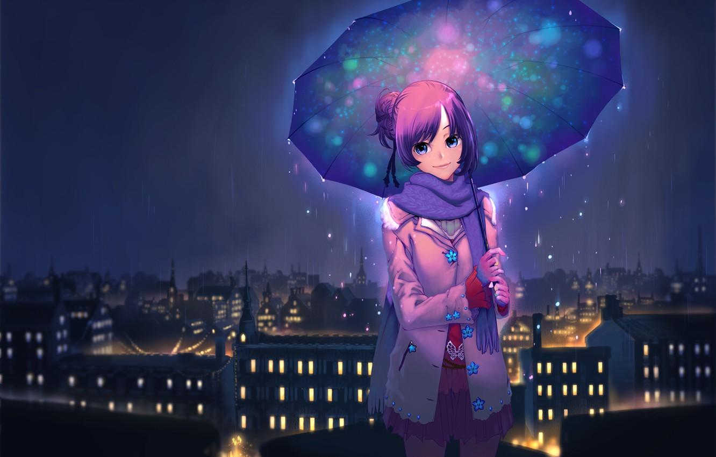 Photo wallpaper night, the city, umbrella, overcast, Umbrella