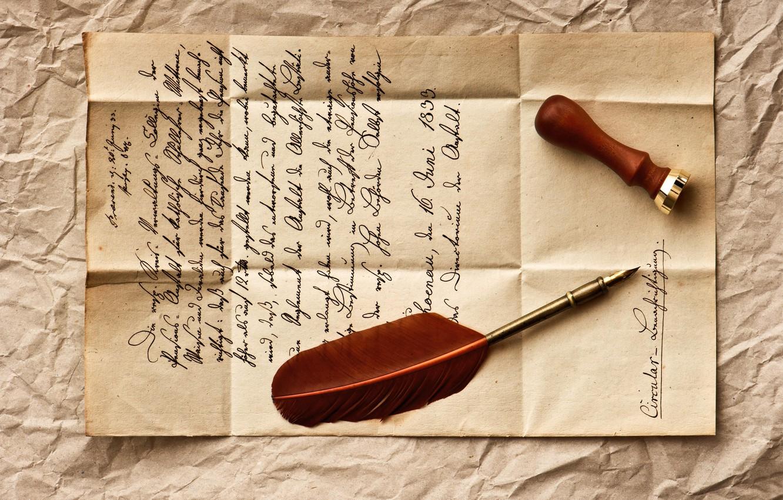 Photo wallpaper letter, retro, pen, line, vintage, vintage, stamp