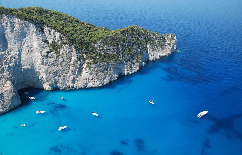 Photo wallpaper sea, landscape, nature, Wallpaper, island, mountain, yachts, panorama, wallpaper, Greece, sailboats, Zakynthos
