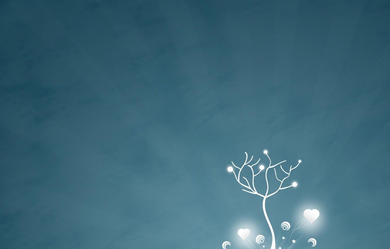 Photo wallpaper winter, rays, snow, trees, simple, love, line, easy