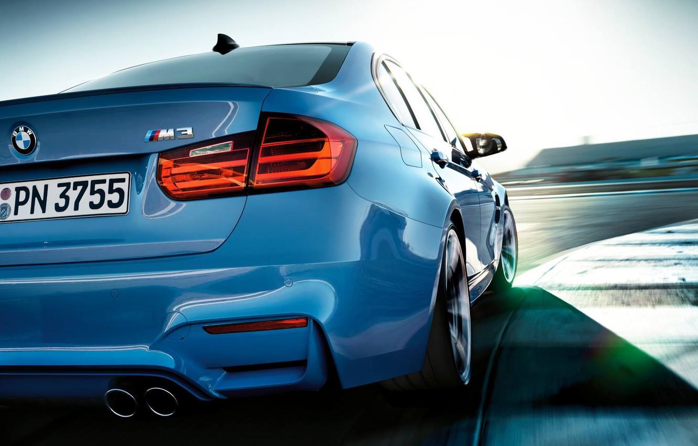 Photo wallpaper blue, bmw, BMW, track, shadow, turn, sedan, the curb