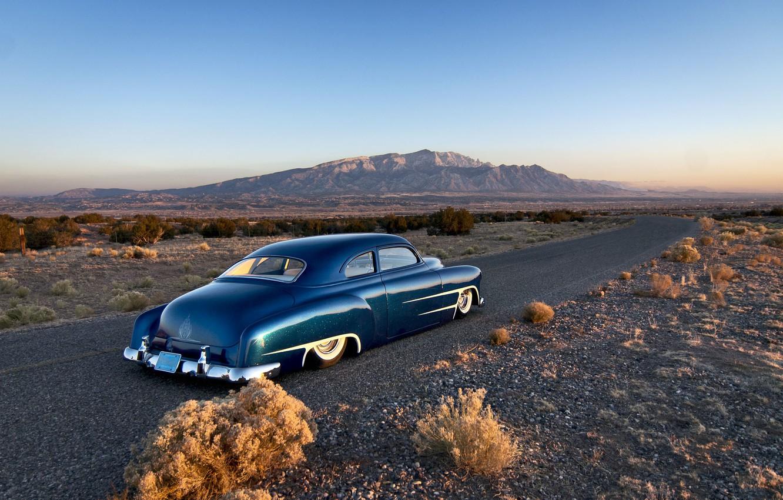 Photo wallpaper road, the sky, mountains, Chevrolet, horizon, classic, rear, 1951, custom, side, chopped