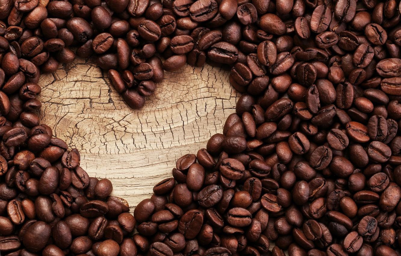Photo wallpaper coffee, love, heart, beans, coffee