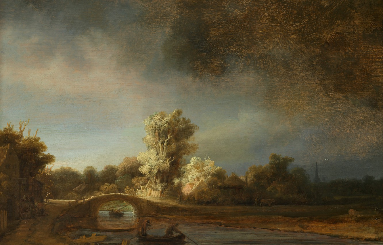 Photo wallpaper landscape, river, boat, picture, Rembrandt van Rijn, Stone Bridge