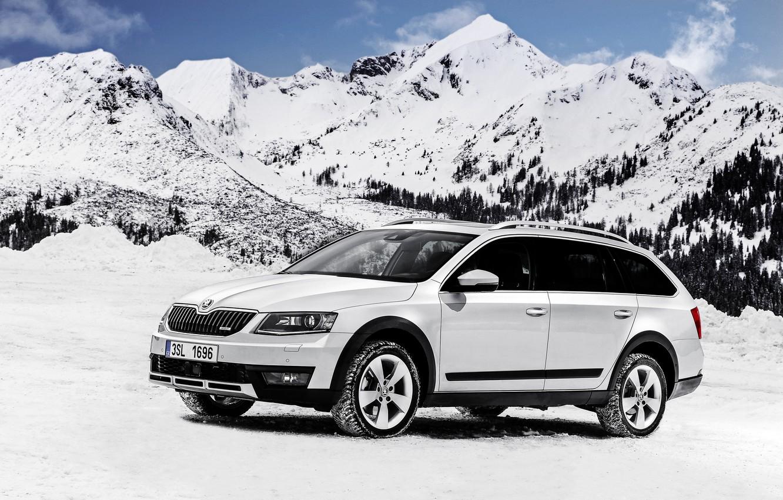 Photo wallpaper snow, mountains, Skoda, universal, Skoda, Combi, Octavia, Octavia