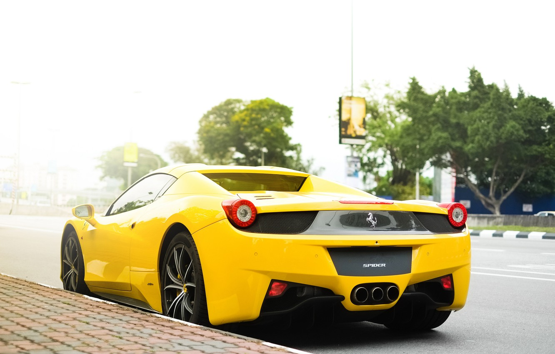 Photo wallpaper yellow, street, Ferrari, Ferrari, 458, italia, yellow, Italy, street