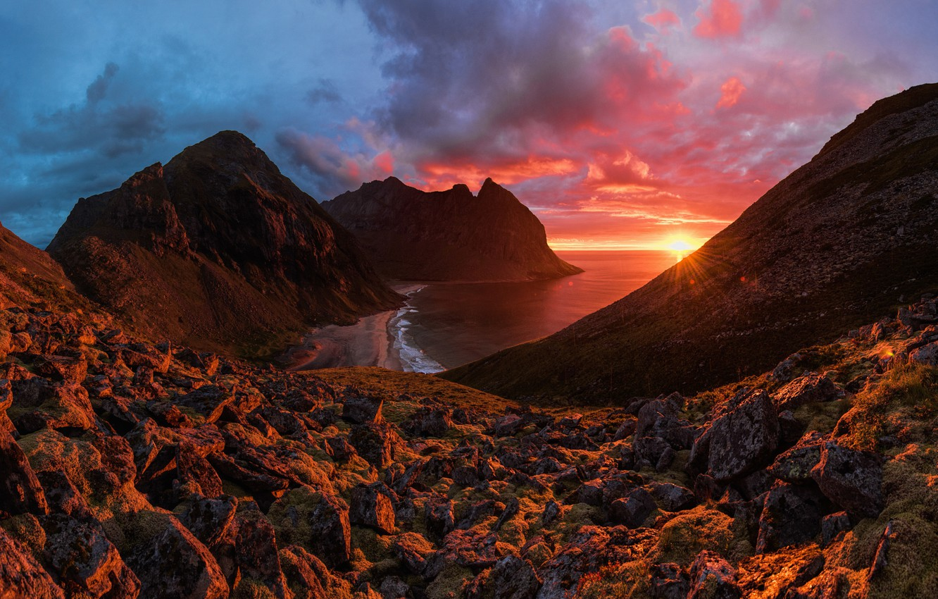 Photo wallpaper Red, Clouds, Sky, Landscape, Sun, Sunset, Rain, Landscapes, Mountains, Norway, Sea, Northern, Stones