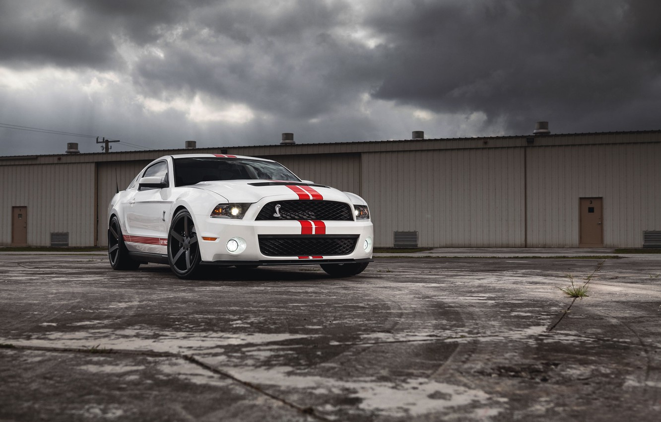 Photo wallpaper white, clouds, the building, Mustang, Ford, Shelby, Mustang, muscle car, Ford, muscle car, gt500, red …