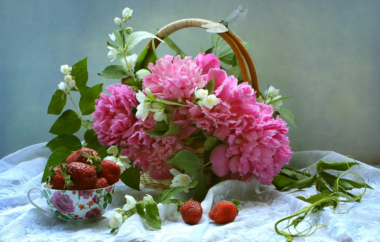Photo wallpaper berries, basket, bouquet, dragonfly, strawberry, still life, peonies, Jasmine