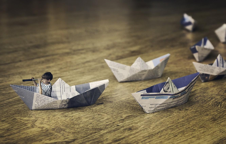 Photo wallpaper background, child, boats