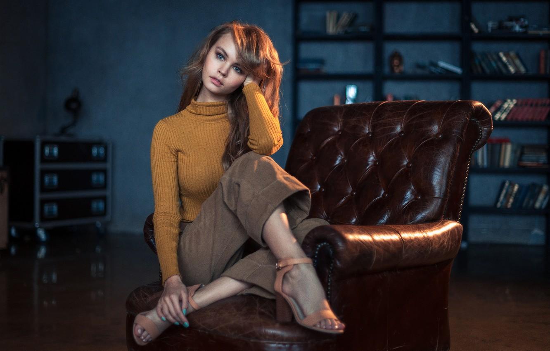 Photo wallpaper Girl, Look, Lips, Face, Hair, Yellow, Portrait, Jacket, Anastasia Shcheglova, Alexander Reshnya
