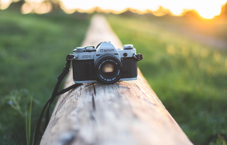 Photo wallpaper sunset, camera, the camera, lens, canon