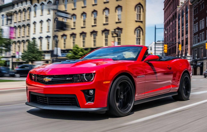 Photo wallpaper Red, Road, The city, Chevrolet, Machine, Convertible, Movement, Building, Camaro, Chevrolet, City, Camaro, Red, Car, …