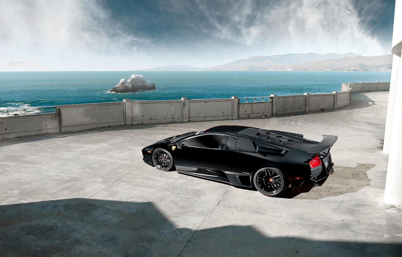 Photo wallpaper Lamborghini, Black, Murcielago, LP670-4, Sea, Supercar, Rear