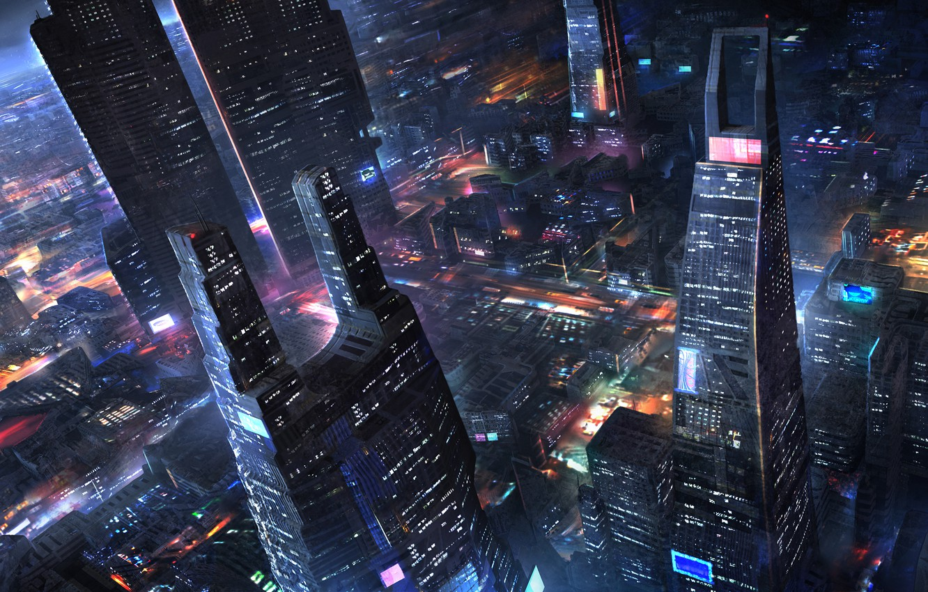 Photo wallpaper night, the city, lights, future, art, the view from the top, megopolis