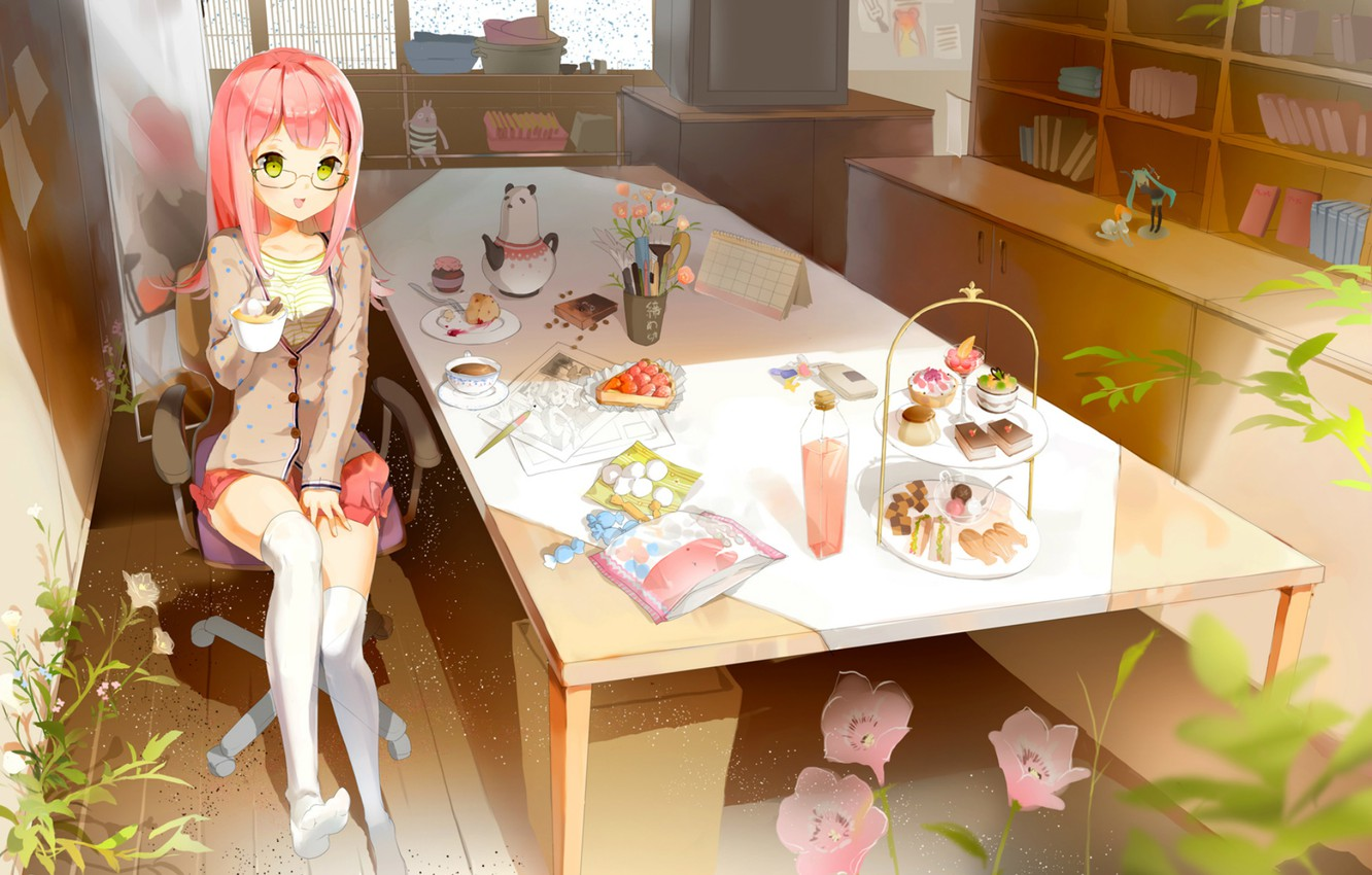 Photo wallpaper table, room, toys, books, plants, chair, stockings, mirror, TV, window, the tea party, girl, sweets, …