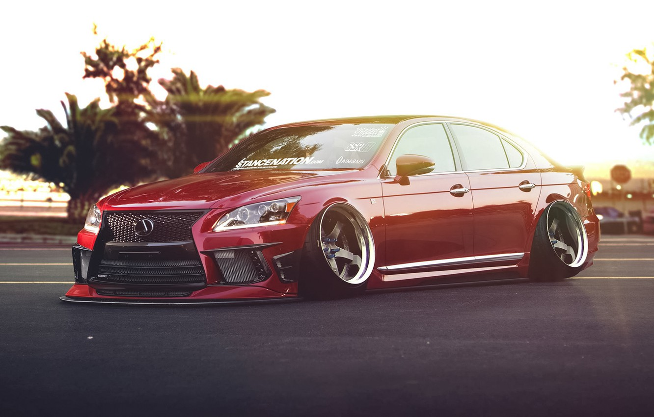 Photo wallpaper Lexus, Red, Car, Front, Stance, Low, LS 460