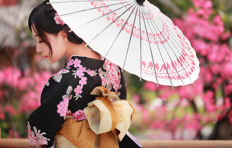 Photo wallpaper face, umbrella, clothing, kimono, Asian