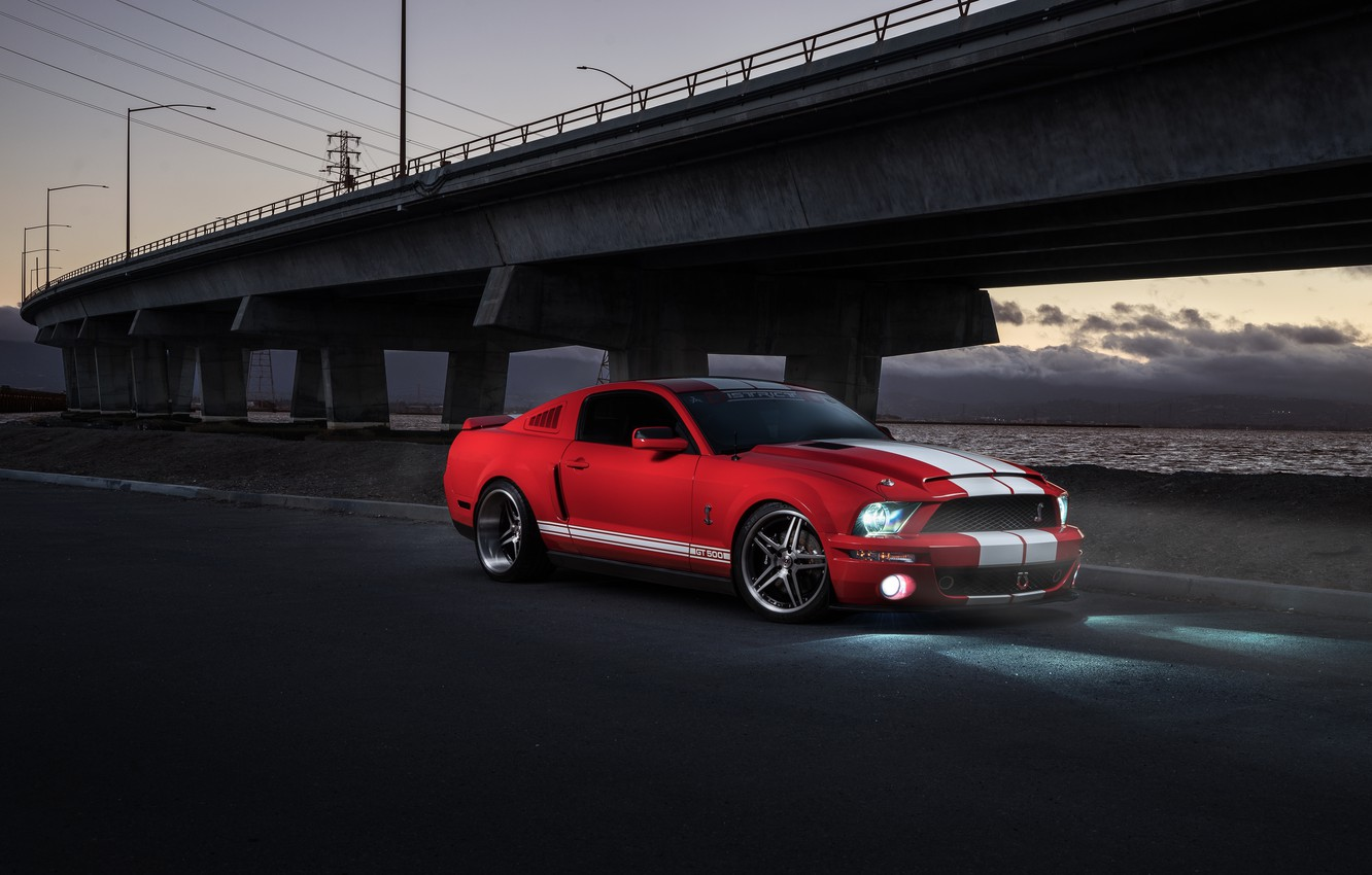 Photo wallpaper Mustang, Ford, Shelby, GT500, Muscle, Light, Red, Car, Front, Sunset, Collection, Aristo