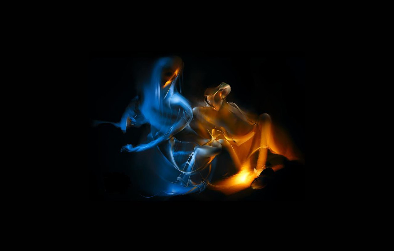Photo wallpaper fire, smoke, two, it