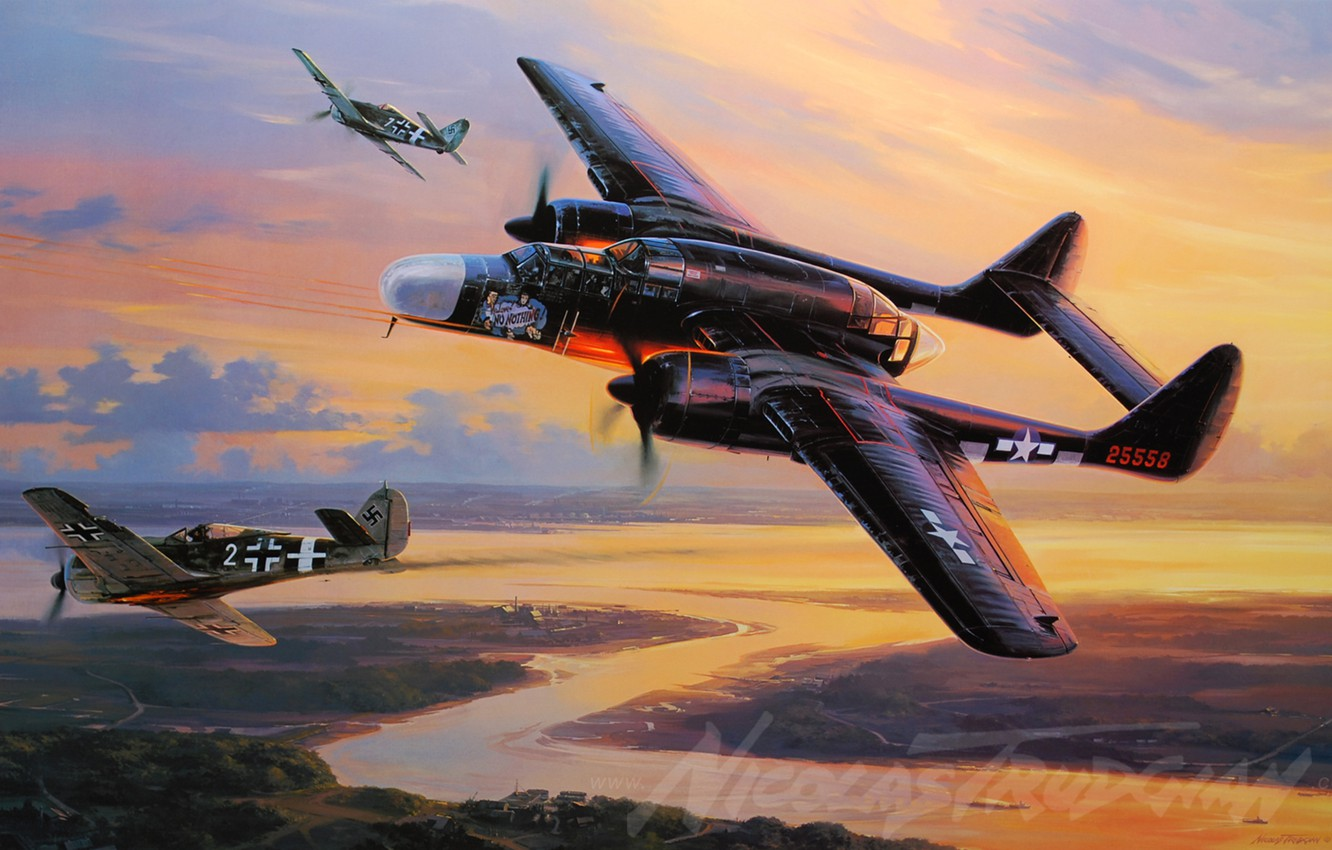 Wallpaper the plane, Fighter, painting, P-61, Black Widow